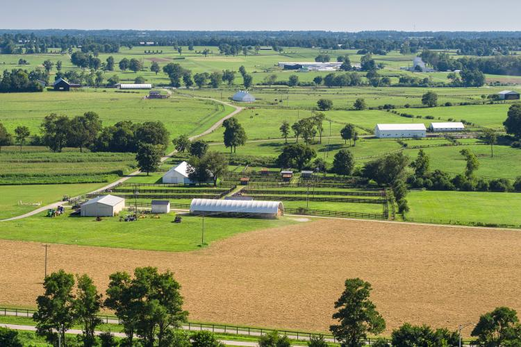 Aerial picture of Kentucky farm land. Photo by Matt Barton, UK agricultural communications.