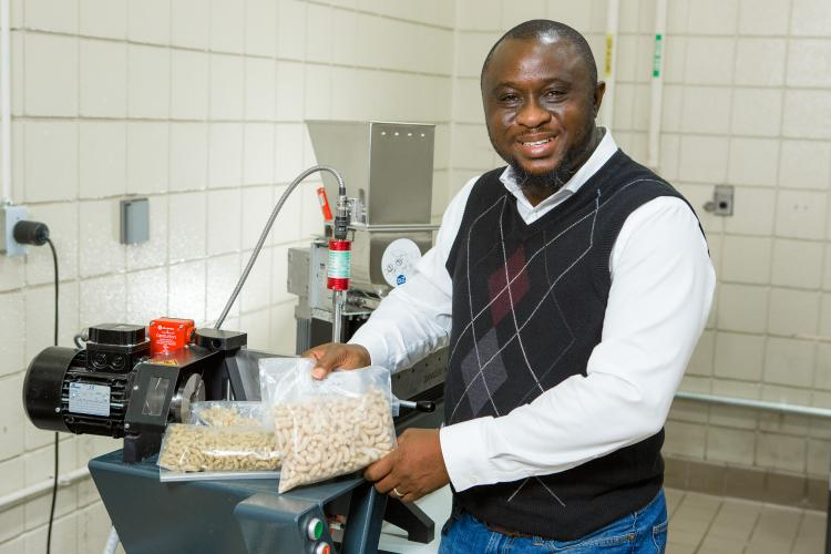 Food engineer Akinbode Adedeji, pictured here in his UK lab, is the recipient of the Canadian Society of Bioengineering's John Clark Award for his significant contributions to food engineering. Photo by Matt Barton, UK agricultural communications.