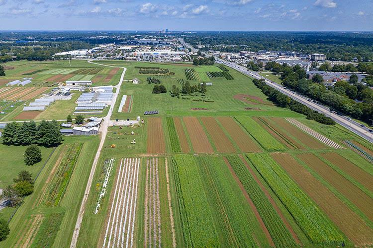 Aerial view of UK's Horticulture Research Farm.