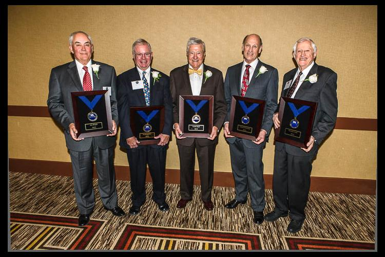 Hall of Distinguished Alumni inductees (L to R) Joe Wright, David Switzer, Louis Boyd, Harold Workman and Maurice Cook.