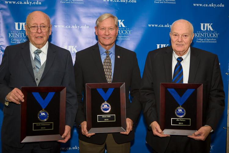 2014 distinguished alumni include from left: Herb Ockerman, Glenn Stith and Jim Mahan.