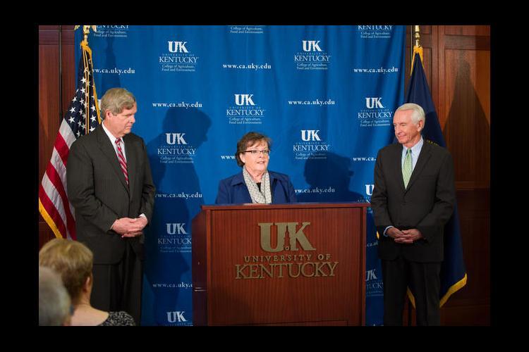Agriculture Secretary Tom Vilsack, UKAg Dean Nancy Cox and Gov. Steve Beshear announce the new center at UK.