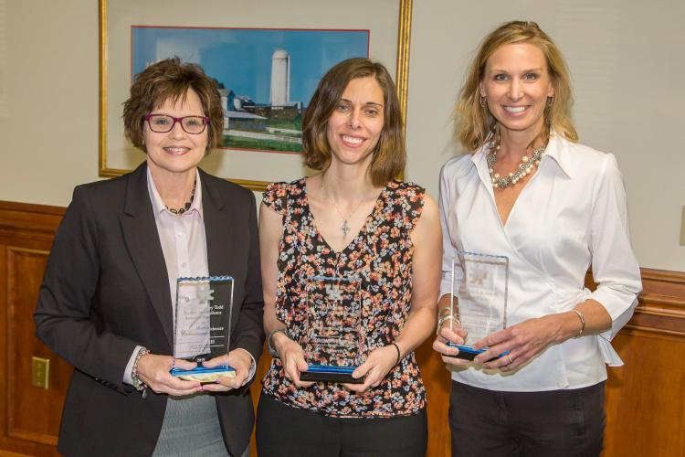 From left: Jill Harris, Dawn Brewer and Amy Kostelic received the 2019 Patricia Brantley Todd Awards of Excellence from the UK School of Human Environmental Sciences. Photo by Steve Patton, UK agricultural communications.