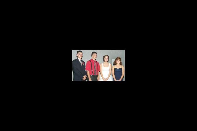 2000-2001 State 4-H Officers. From left to right: Tony Stoeppel, President; Jim Winn, Vice President; Jessica Hays, Secretary; Elizabeth Hardesty, Treasurer.
