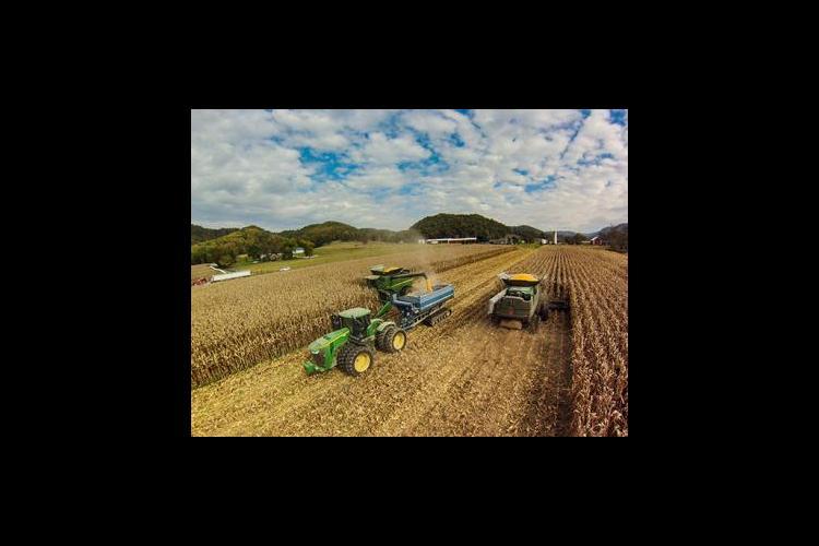 Farm machinery in fields of grain