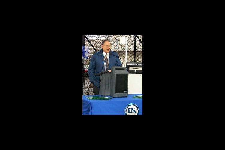 Dr. Oran Little welcomes guests to official opening of UK's E-85 refueling facility.