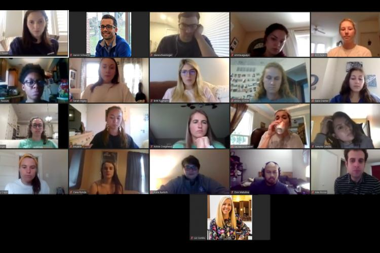 UK Supervised Practice Program interns meet with program directors Aaron Schwartz and Liz Combs each Tuesday to touch base, listen to guest speakers, preview upcoming projects and discuss schedule changes. Photo by Aaron Schwartz, UK lecturer.