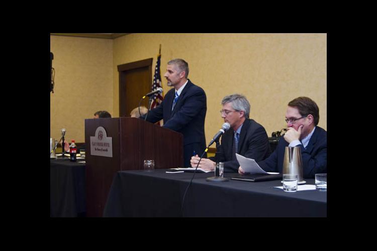 Kenny Burdine addresses the Kentucky Farm Bureau annual meeting.
