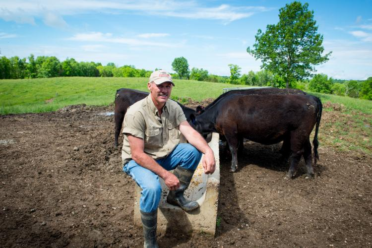 Mike Wilson on his farm in Anderson County
