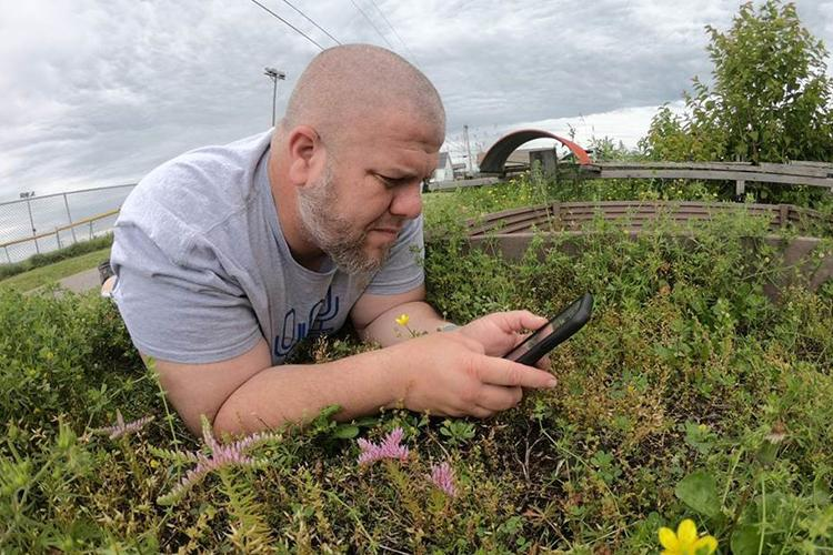 """Eric Comley, Garrard County 4-H youth development agent, records a native plant for his YouTube series, """"On the Ground."""" Photo by Eric Comley."""