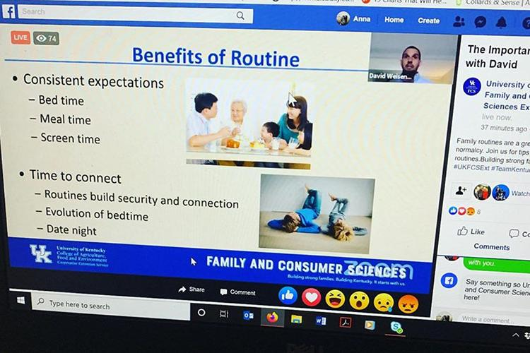David Weisenhorn, senior extension specialist for parenting and child adolescence education, presents a webinar on the benefits of having a routine during the COVID-19 pandemic. Photo by Anna McCoy, Fulton County family and consumer sciences agent.