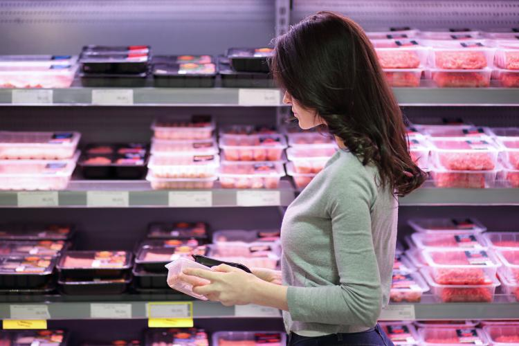 woman, shopping, grocery store, meat