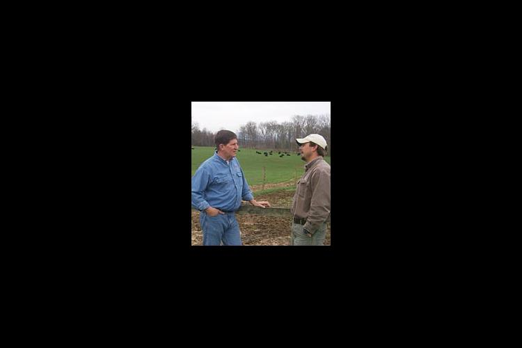Rick Greenwell, Washington Co. Extension Agent for Agriculture and Natural Sciences talks with the Biltmore's Tim Johnson about the Biltmore beef herds.