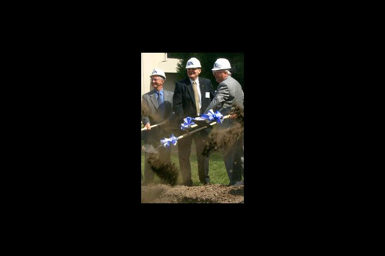 University officials break ground for the new plant science building. Pictured from left: Billy Joe Miles, chairman of the UK Board of Trustees; Oran Little, dean of the UK College of Agriculture; and Scott Smith, associate dean for research.