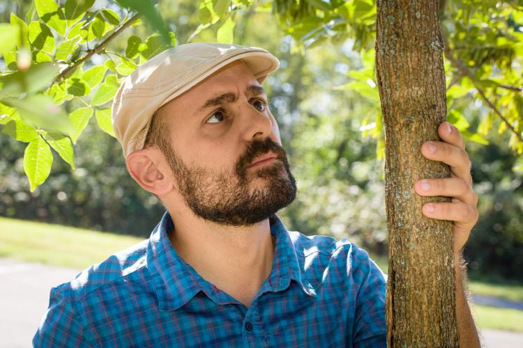 Ignazio Graziosi, UK post-doctoral scholar, looks at emearld ash borer damage on an ash tree at Raven Run.