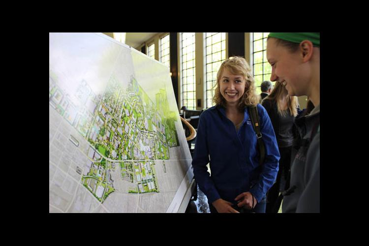 UK Forestry student Hannah Angel with the plan for campus tree-planting initiative