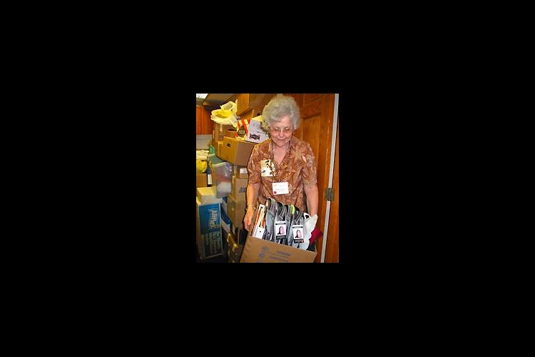 woman with box of goods