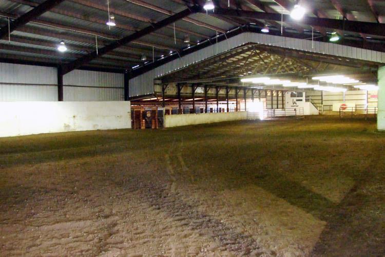 An indoor horse arena