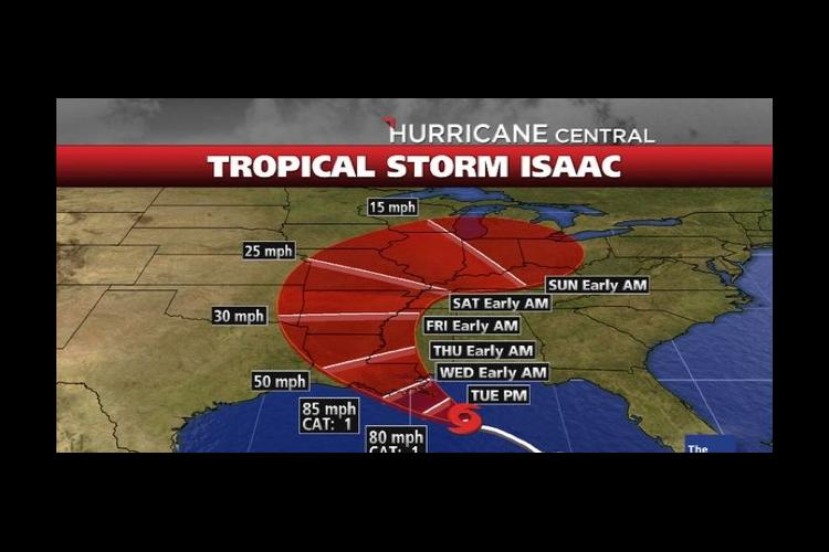 Weather map of Tropical Storm Isaac