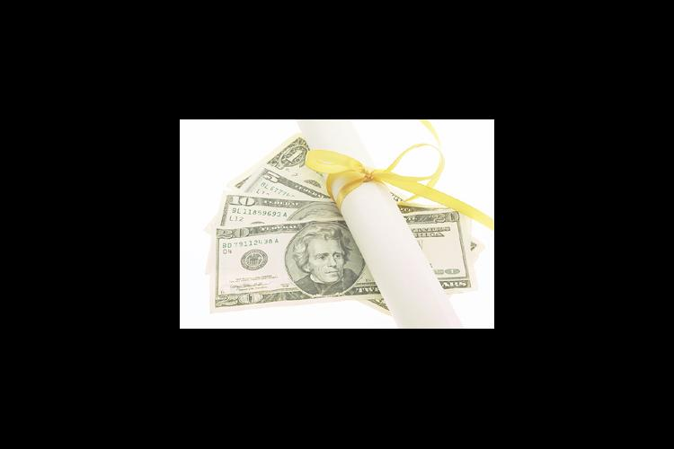 Money and gold ribbon