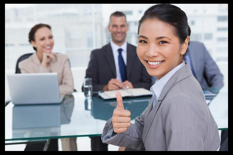 Job candidate giving thumbs up