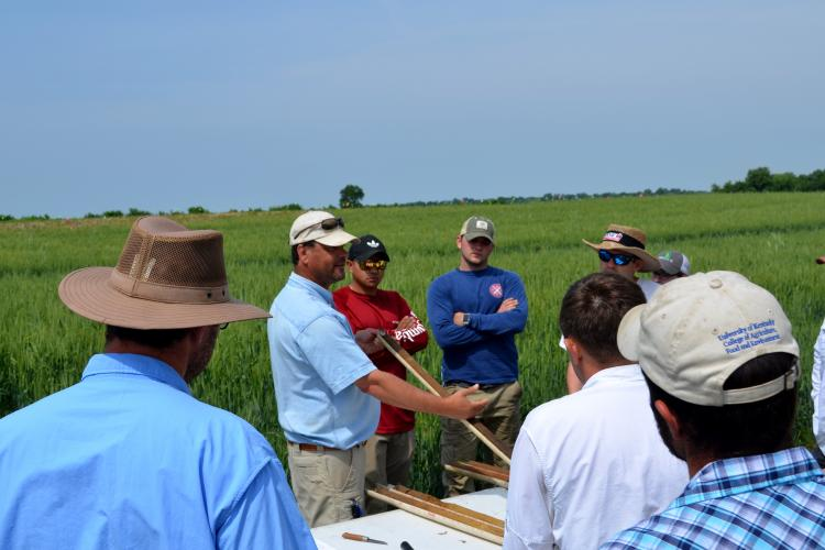 Edwin Ritchey, UK extension soil scientist, shows a soil profile to participants at a previous field school.