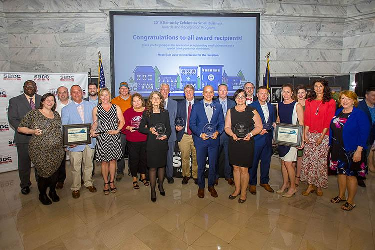 2019 award winners at the Kentucky Celebrates Small Business awards ceremony