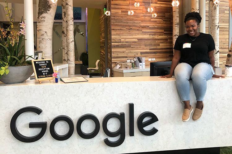 CAFE student Kymberley Johnson at her internship at Google during the summer of 2019. Photo courtesy of Kymberley Johnson.