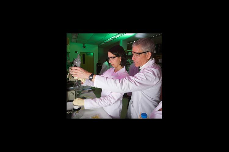 man and woman in chemical lab