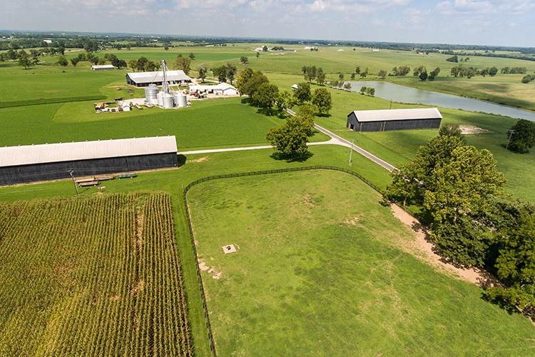 Aerial shot of UK's Oran C. Little Research Farm. Photo by Matt Barton, UK agricultural communications.
