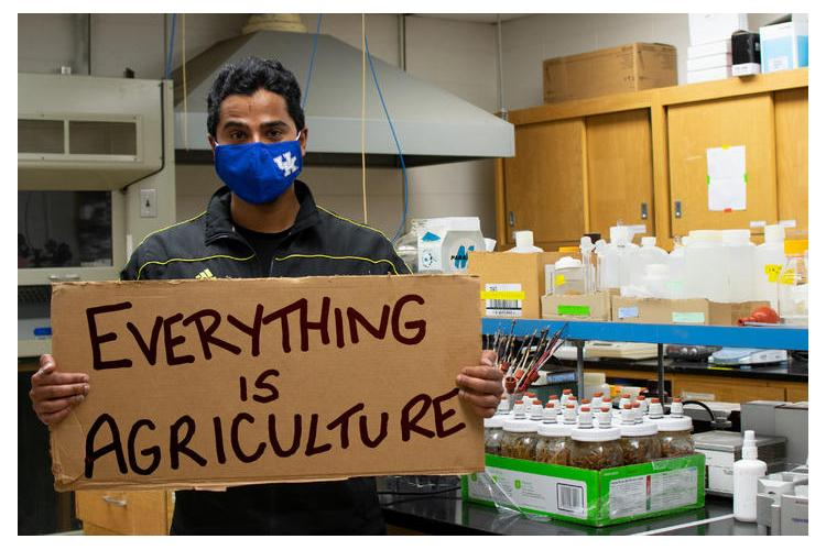 MD Anik Mahmud, integrated plant and soil science master's student, in his research lab. Photo by Seth Riker.