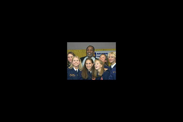 Film star, Danny Glover, poses with Ohio County FFA Members at the 72 Annual FFA Convention in Lousiville, Ky.