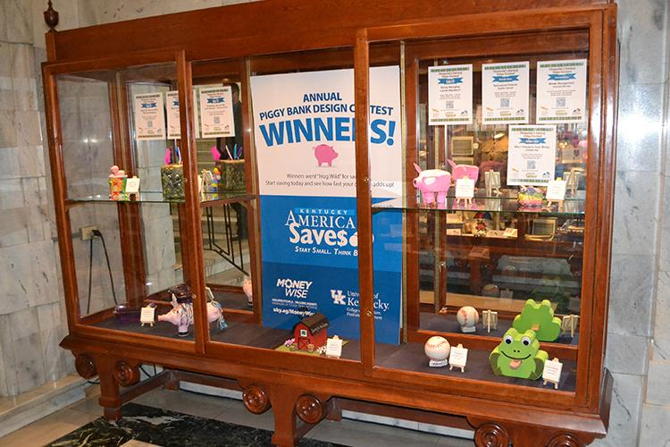 Winning banks are on display at the Capitol in Frankfort through the end of the month. Photo by Kelly May, senior extension associate.