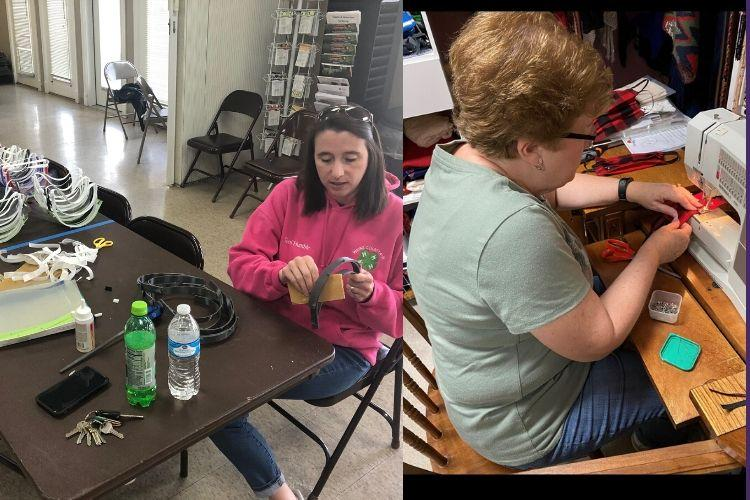Left  Image: Toni Humble, Wayne County 4-H youth development agent, assembles face shields. Right: Karen Hill, Kentucky Extension Homemaker Association president and Henderson County Extension Homemaker, sews face masks. Photos submitted.