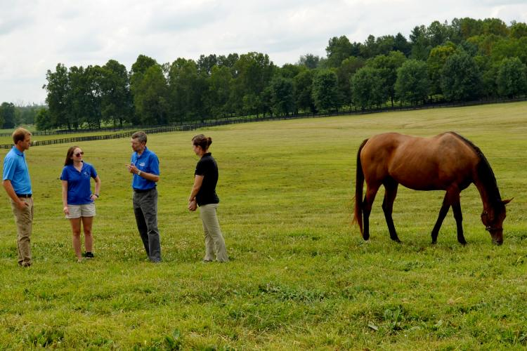 Ray Smith, second from right, speaks with from left: Keith Haag, Krista Lea, UK Horse Pasture Evaulation Program coordinator, and Laura Haag during a visit to Endeavor Farm. Photo by Katie Pratt, UK agricultural communications.