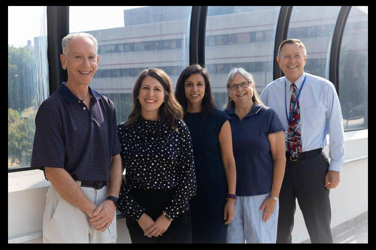 The Robert Wood Johnson Foundation has selected five UK professors to serve in its Clinical Scholars program. From left: Craig Miller, Angela Grubbs, Julie Plasencia, Audrey Darville and Charles Carlson. Photo by Renee Fox.