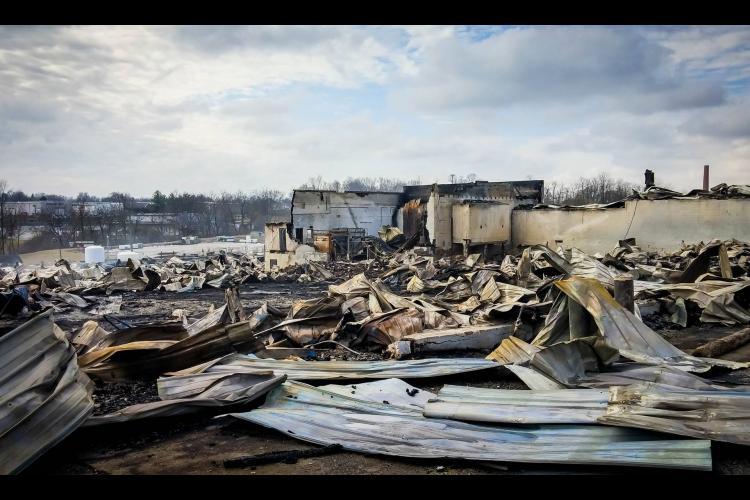 building after stockyard fire