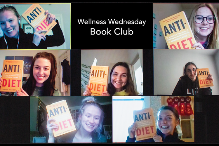 Dietetics and human nutrition students in the Wellness Wednesday Book Club participate in their first meeting.  Photo by Renee Fox, DHN marketing and promotion specialist.