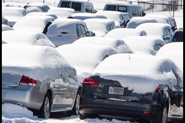 Cars in the UK motor pool are covered with snow in this March 2018 photo. Photo by Steve Patton, UK agricultural communications.