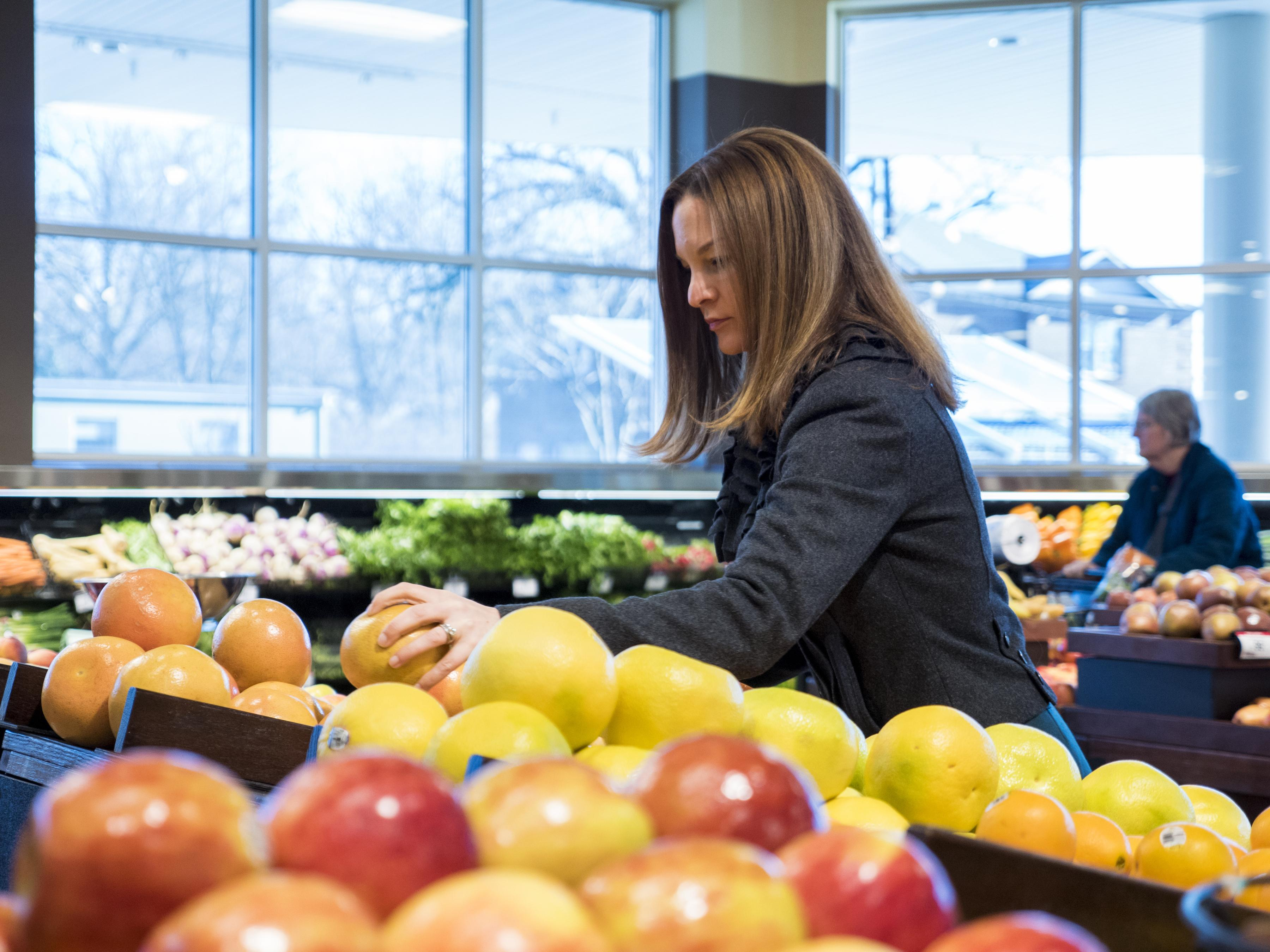Alison Gustafson with produce