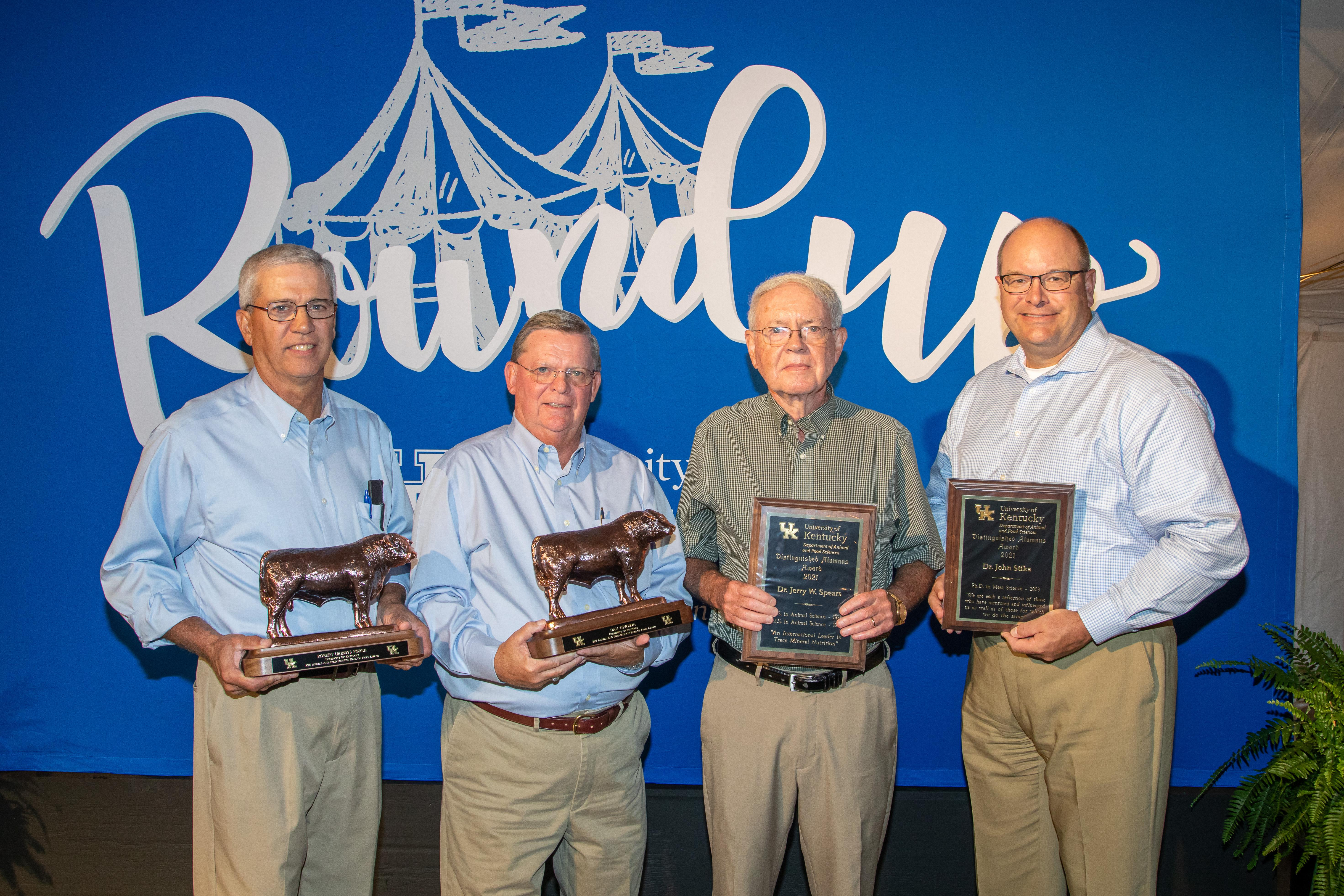 (L to R) Hall of Fame Inductees Robert (Bobby) Foree and Dan Grigson and Distinguished Alumnus Dr. Jerry Spears and Dr. John Stika were honored during the Animal Science Reunion Oct. 1 during 2021 Roundup week for the College of Agriculture, Food and E