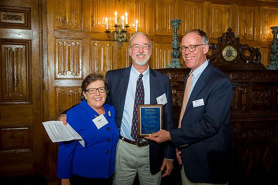 Nancy Cox, college dean, Tom Riddle, veterinarian and Mick Peterson, UK Ag Equine Programs director