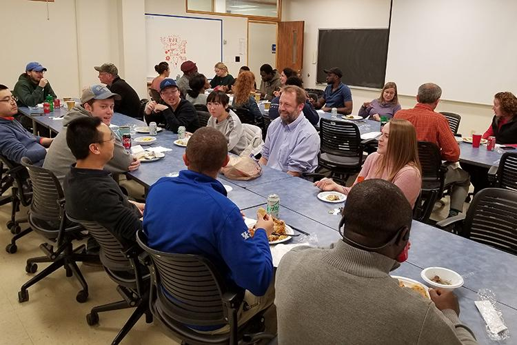Prior to the COVID-19 pandemics, UK BAEGLS organized an international potluck for all students, faculty and staff in the Department of Biosystems and Agricultural Engineering. Photo by Alicia Modenbach, UK lecturer.