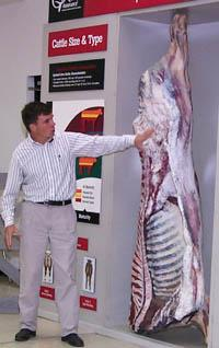 Darrh Bullock, UK Beef Specialist, points out different attributes of a high-quality carcass.