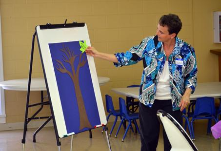 Sarah Hornback, one fo the cafe's founders, participates in an activity during the group's recent meeting.
