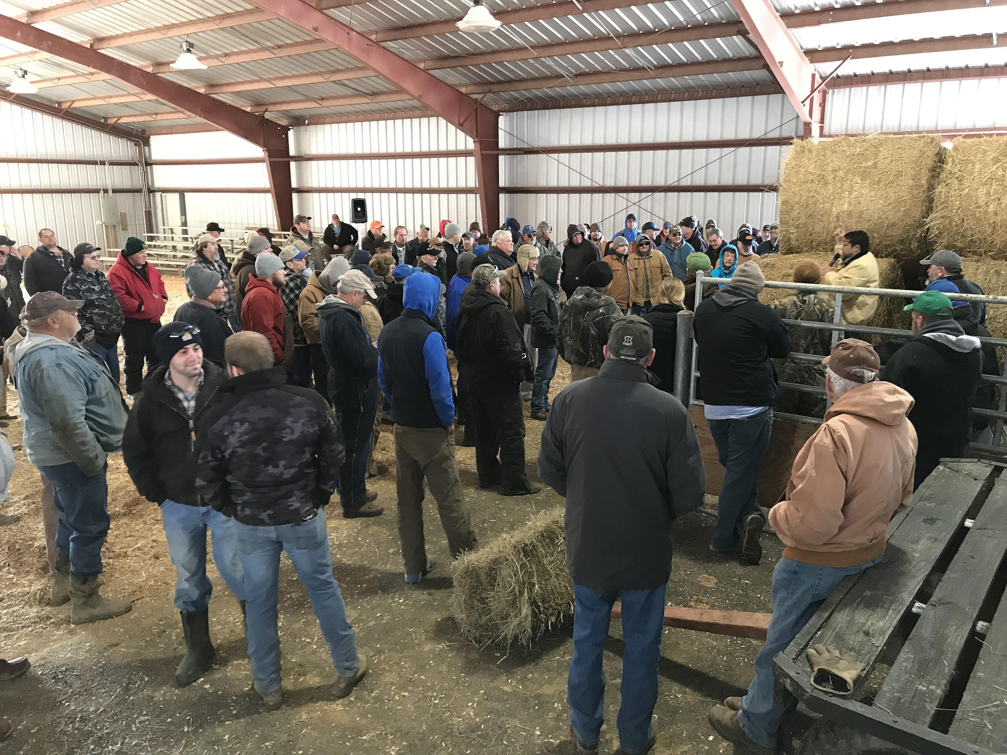 Producers bid on hay at the Tri-County Hay and Straw Auction in Metcalfe County. Photo by Kevin Lyons, Monroe County agriculture and natural resources extension agent.