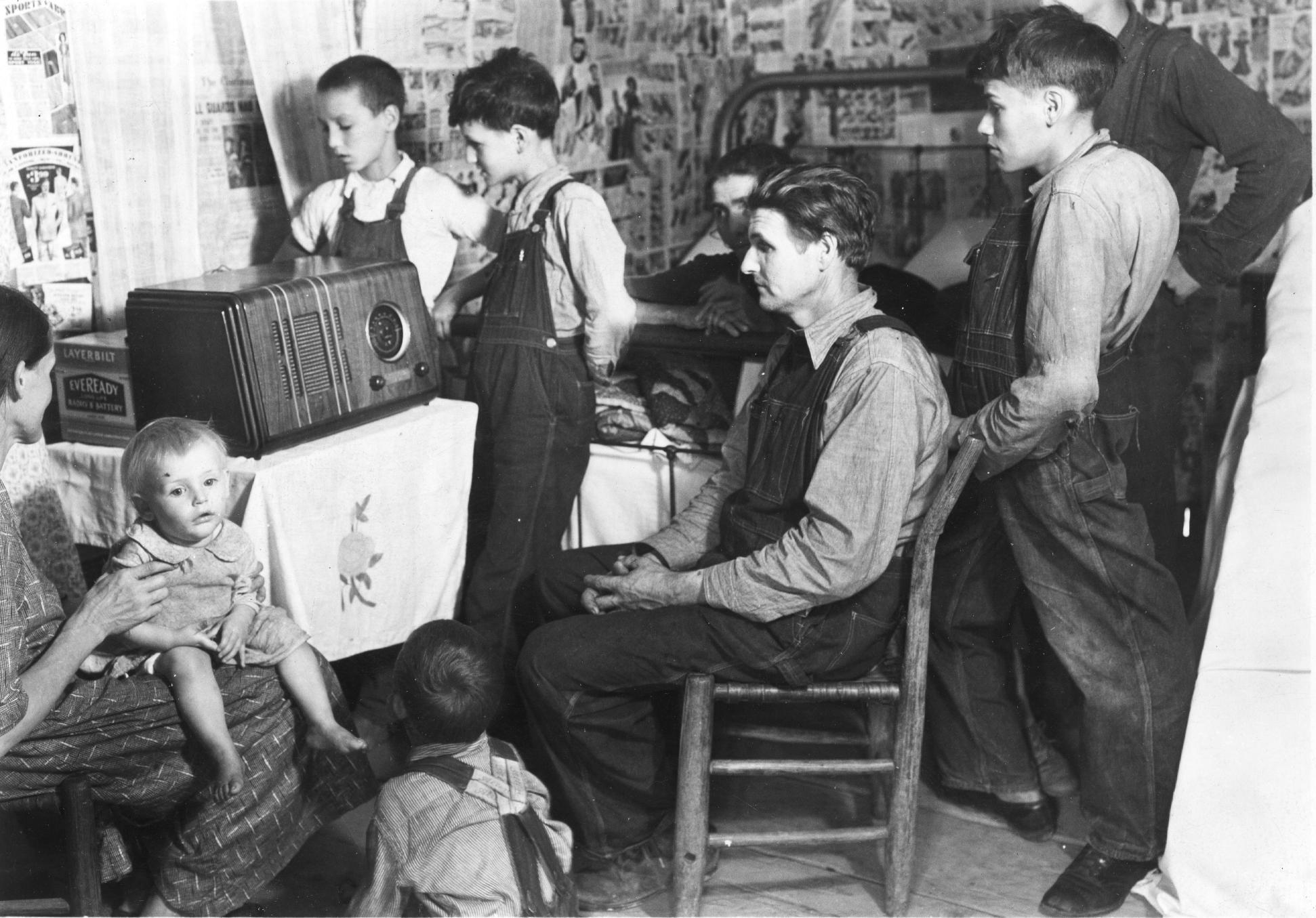 listening to radio black and white