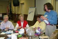 Part of the activities at the leadership retreat included learning new crafts.