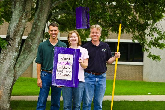(L to R): Joe Collins, Janet Lensing and Carl Harper with the Office of the State Entomologist with an emerald ash borer trap.