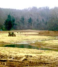 Wilson Creek meanders through a valley after being restored to its more original course.
